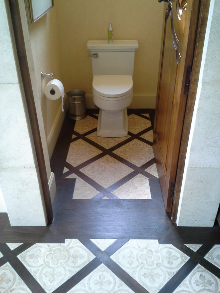 Tile and wood inlay bathroom remodel